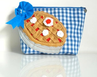 Blue Ribbon Pie Pouch - County Fair - Zippered - OOAK - Handmade in USA - All American Prize Winner