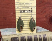 BIG SALE Book Club Earrings  made from real vintage book covers OBLONG quill