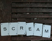 scream halloween home decor vintage game card letters typography