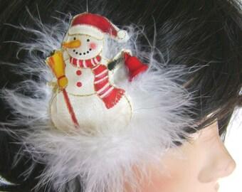 Cutest snowman handmade fabric brooch in feather boa pouff