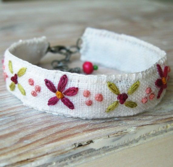 Embroidered Cuff Bracelet - Pink and Green Floral Design Embroidered on White Linen