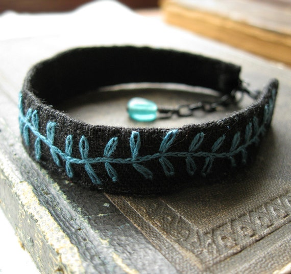Embroidered Bracelet - Teal Vine on Black Linen