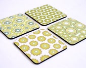 Drink Coasters, Wooden coaster set, Wood coasters, Green Geometric Modern coasters, coaster set, set of four drink coasters