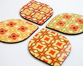 Coaster set drop leaf retro pumpkin orange drink coasters kitchen table gift idea for her hostess gourmet