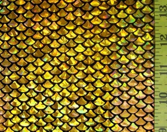 Gold Small Fish Scale on Black  Lycra Fabric