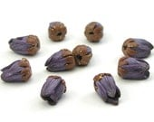 Polymer Clay Beads, Deep Purple Flower Bud Beads, Handmade