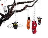 Custom for Rachel 5 Spooky Ornaments - devil, black cat, 2 jack o lanterns, skull