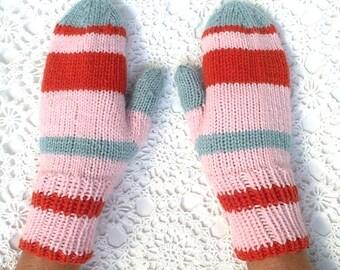 Mittens Blue Pink Orange Rust Retro Hand Knit Striped Women Ladies Teens