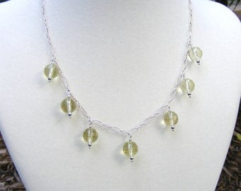 Faceted Lemon Quartz Sterling Silver Necklace