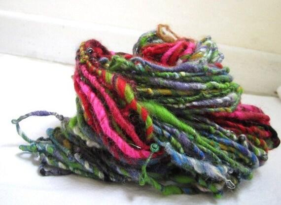 Poppy Red Purple Green Sparkle Merino Fiber Blend Art Yarn 52yards