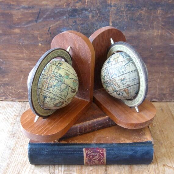 vintage globe bookends, globe book ends, world bookends, world book ends, earth bookends,