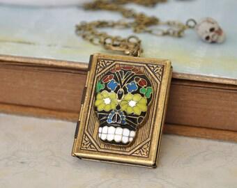 SUGAR SKULL antiqued brass locket necklace with enameled sugar skull