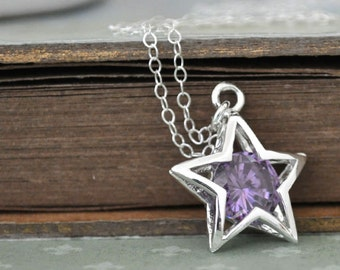 WISH UPON A STAR sterling silver necklace with violet color jeweled star charm pendant
