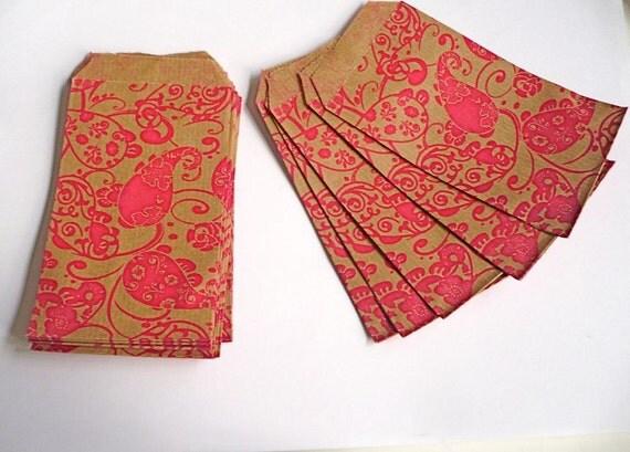 Pink paisley kraft paper bags - 25 smaller bags of 7cm x 12cm