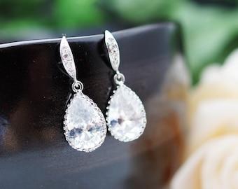 Wedding Jewelry Bridesmaid Jewelry Bridal Earrings Bridesmaid Earrings Cubic Zirconia Tear drops Earrings