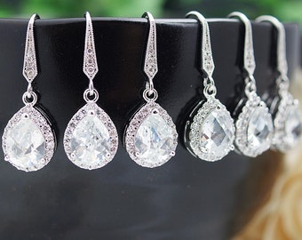 Bridesmaid Earrings, SET OF 3,4,5 Bridal Earrings halo Style CZ Drop Earrings Dangle Earrings Bridesmaid Gift Bridal Jewelry (E-B-0009)