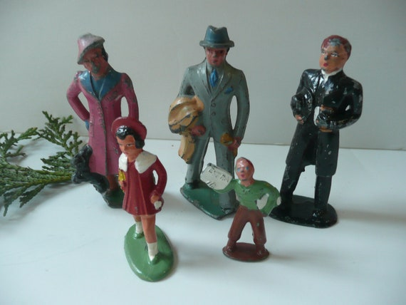 Vintage Barclay Lead Figures Man Woman Child Minister Newsboy Cottage Chic