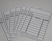 White Library Cards - Handstamped - Set of 12