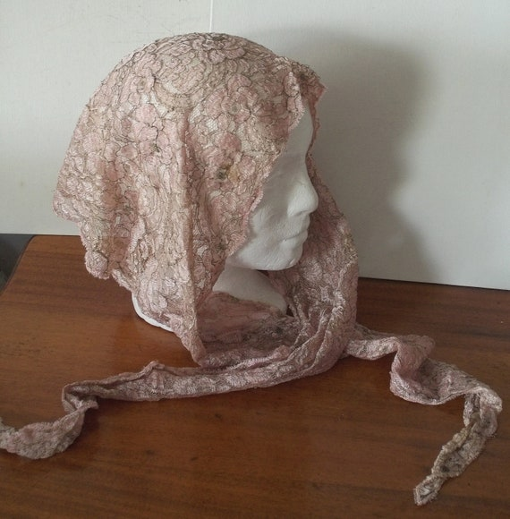 Vintage Pink Lace Mantilla - Metallic Gold -  Small Veil - Head Cover
