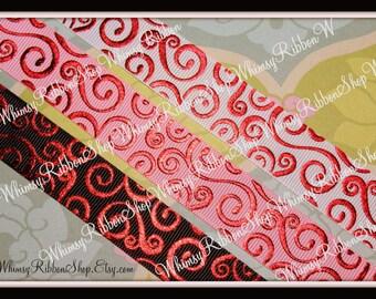 NEW 6 yards 7/8 Red Foil Swirls SCROLLS on BLACK Pink White grosgrain Ribbon Hair bows Scrap Invitations Sewing trim blood Twilight 2 yd ea