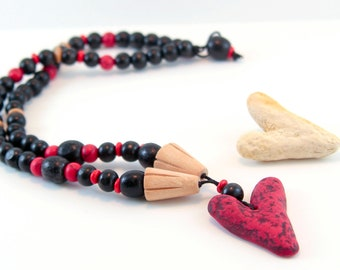 Red and black necklace Wood polymer clay necklace handmade necklace