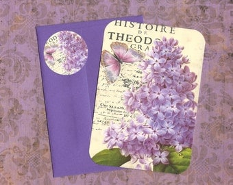 Note Cards & Matching Stickers,  Lavender, Lilac and Butterfly