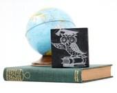 Vintage Wood Letterpress Block Stamp // Owl Graduate - Back to School