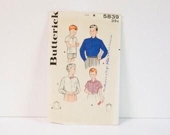 Vintage 1950s Butterick Boy's Sport and Dress Shirt size 4 Pattern 5839