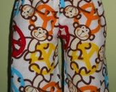 Waldorf Boy Doll Clothes - Peace Monkeys Flannel Pants - Pajamas - Loungers - 15 Inch Boy - B