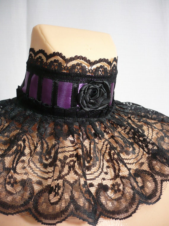 Gothic Victorian Collar, Carnival Neck Ruff, Black Purple Steampunk, Halloween Lace Neck Piece, Noir, Dark Wedding, Corset Tie,Choker