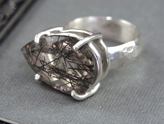 Large Stone Ring, Cocktail Ring, Tourmalized Quartz Ring, Big Gemstone Ring, Statement Ring, Prong Set Ring, Silver Ring