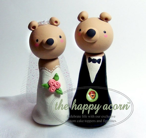 Teddy Bear Wedding Cake Topper Bears - Custom Made to Order - by The Happy Acorn