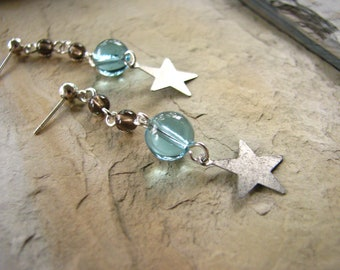 Star Earrings with Smokey Quartz and Blue Glass Beads