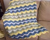 Afghan - Crochet Afghan - Crochet Blanket - Wavy Crochet Ripple Blanket