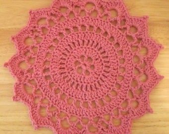 Doily - Crochet Doily in Pink