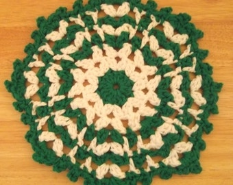Doily - Crochet Doily in Green and White - Can also be a Coaster or Potholder - Table Decoration