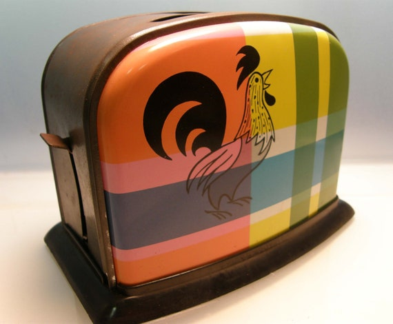 Breakfast is Served - 1950's Plaid Rooster Child's Play Toaster