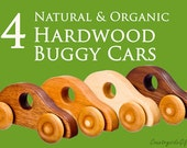 Wooden Toy Cars - Handcrafted Natural and Organic Wooden Toy Car -  Wooden Toy Buggy Car  -  Set Of 4 Wooden Toy Cars