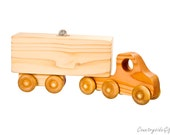 Bank , Wooden Bank - Wooden Semi Truck 18 Wheeler Bank, Natural and Organic, Handmade Piggy Bank