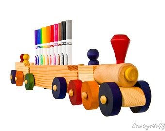 Marker Holder - Wooden Train Marker Holder 3 Car - Handcrafted Natural Organic Wooden Marker Holder - Wooden Train Marker Holder 10 Markers
