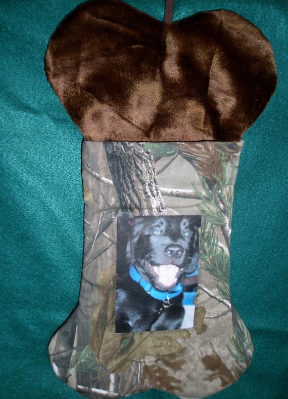 Realtree Camo Dog Christmas Stocking, bone shaped