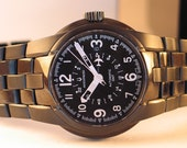 Bulova Automatic GMT American Eagle Buzz Aldren Pilots Wristwatch W/Box Swiss Very Collectible