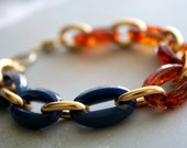 Arm Candy - navy blue tortoise shell and gold link bracelet - gifts for her under 15