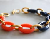 Arm Candy - coral navy blue and gold link bracelet