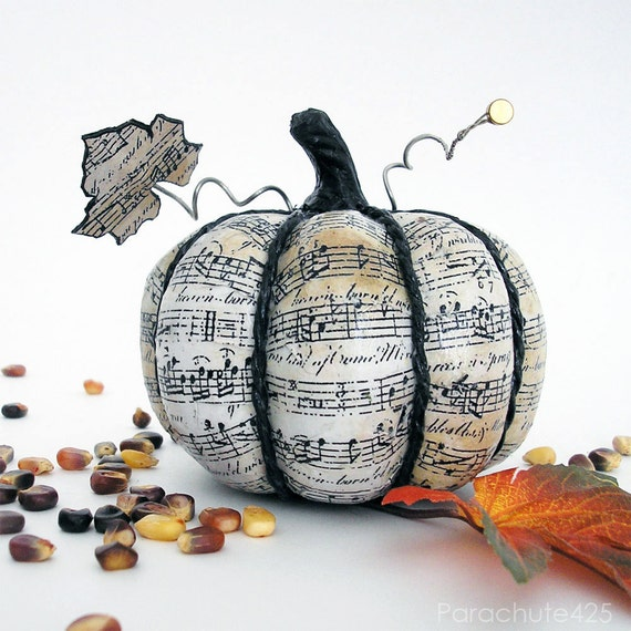 Music Pumpkin 125, 4 inch, decoupage Halloween decor, music decor