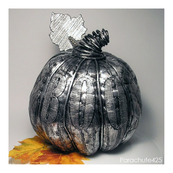 Boo Silver Patches Pumpkin, decoupage, Halloween, macabre, gothic, spooky, black and silver, ooak