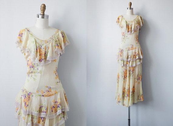 vintage 1930s dress / vintage 30s tiered floral gown / vintage 1930s garden silk gown