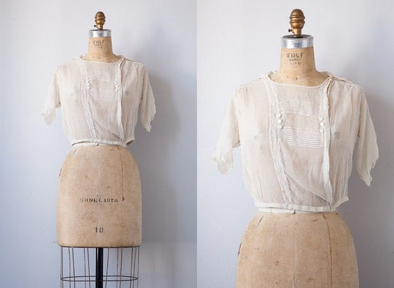 vintage 1920s blouse / antique 1910s 1920s blouse / romantic Downton Abbey sheer blouse