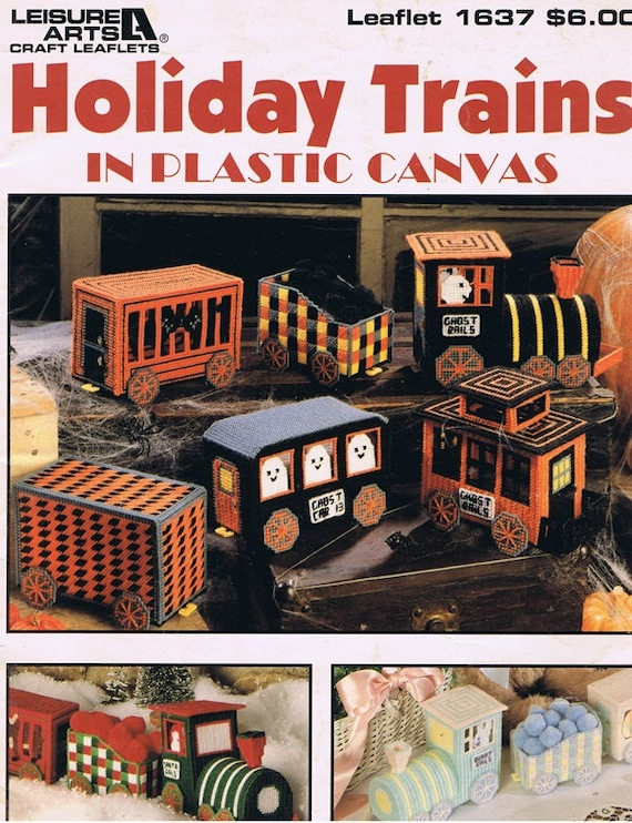 Holiday Trains Plastic Canvas Needlepoint Craft Pattern Leaflets