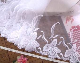 White lace, Embroidered lace, Embroidered tulle, Lolita lace,  Lace trim, Wedding lace, Bridal lace, 3 yards WT208